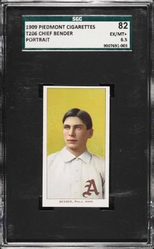 Image of: 1909-11 T206 Chief Bender PORTRAIT SGC 6.5 EXMT+ (PWCC)