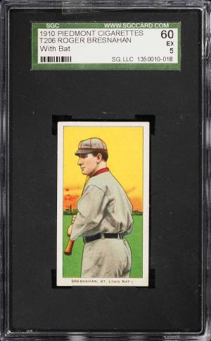 Image of: 1909-11 T206 Roger Bresnahan WITH BAT SGC 5 EX (PWCC)
