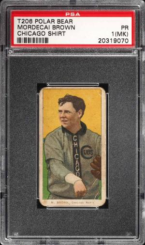 Image of: 1909-11 T206 Mordecai Brown CHICAGO SHIRT, POLAR BEAR PSA 1(mk) PR (PWCC)