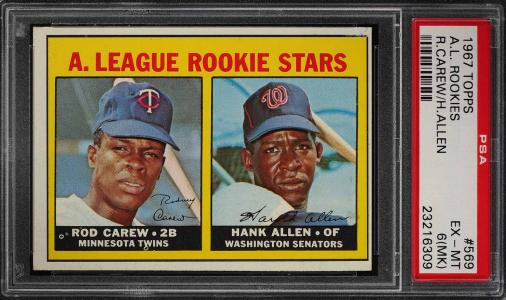 Image of: 1967 Topps Rod Carew ROOKIE RC #569 PSA 6(mk) EXMT (PWCC)