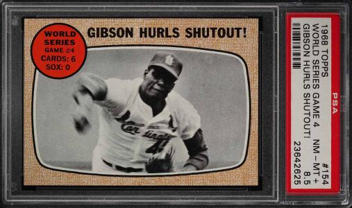 Image of: 1968 Topps Bob Gibson WORLD SERIES GAME 4 #154 PSA 8.5 NM-MT+ (PWCC)