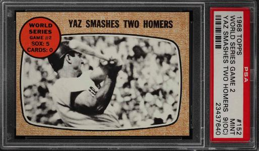 Image of: 1968 Topps Carl Yastrzemski WORLD SERIES GAME 2 #152 PSA 9(oc) MINT (PWCC)