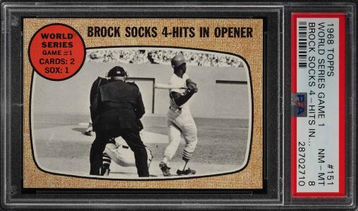 Image of: 1968 Topps Lou Brock WORLD SERIES GAME 1 #151 PSA 8 NM-MT (PWCC)