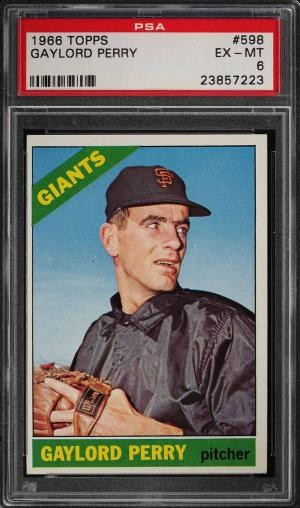 Image of: 1966 Topps Gaylord Perry #598 PSA 6 EXMT (PWCC)