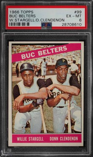 Image of: 1966 Topps Willie Stargell & Donn Clendenon BUC BLASTERS #99 PSA 6 EXMT (PWCC)