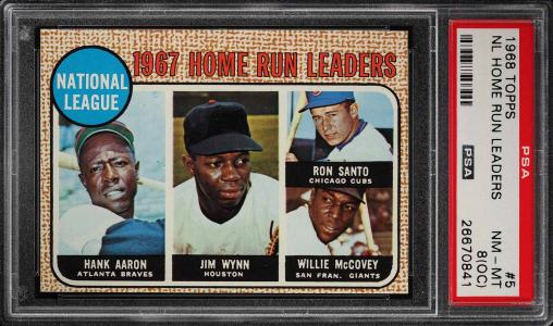 Image of: 1968 Topps Hank Aaron Willie McCovey Ron Santo HR LDRS #5 PSA 8(oc) NM-MT (PWCC)