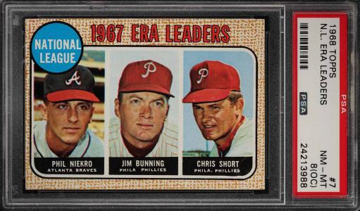 Image of: 1968 Topps Jim Bunning Phil Niekro Chris Short NL ERA LDRS #7 PSA 8(oc) (PWCC)