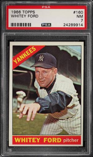 Image of: 1966 Topps Whitey Ford #160 PSA 7 NRMT (PWCC)