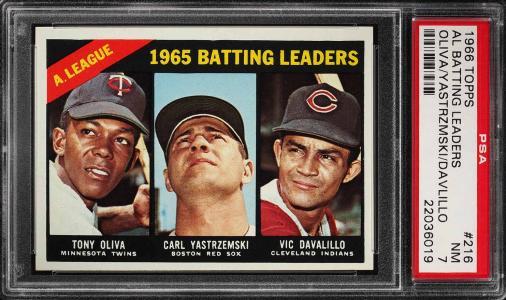 Image of: 1966 Topps Carl Yastrzemski & Tony Oliva AL BATTING LDRS #216 PSA 7 NRMT (PWCC)