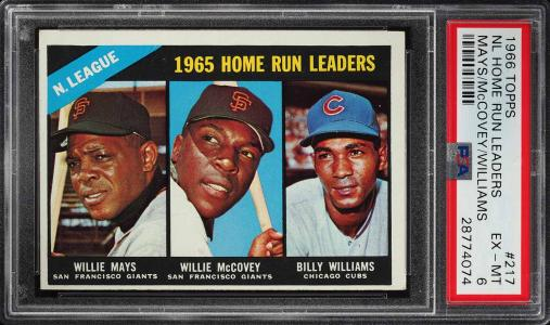 Image of: 1966 Topps Willie Mays Billy Williams McCovey NL HRD LDRS #217 PSA 6 EXMT (PWCC)