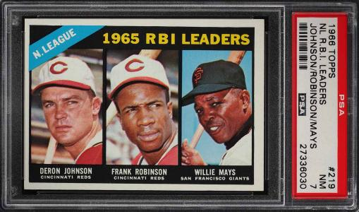 Image of: 1966 Topps Frank Robinson & Willie Mays NL RBI LDRS #219 PSA 7 NRMT (PWCC)