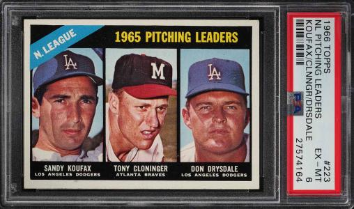 Image of: 1966 Topps Sandy Koufax & Don Drysdale NL PITCHING LDRS #223 PSA 6 EXMT (PWCC)