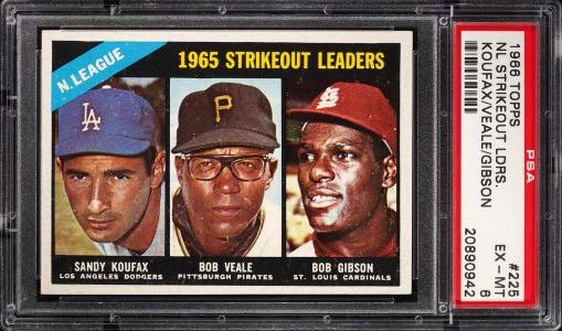 Image of: 1966 Topps Sandy Koufax Bob Gibson Veale STRIKEOUT LDRS #225 PSA 6 EXMT (PWCC)