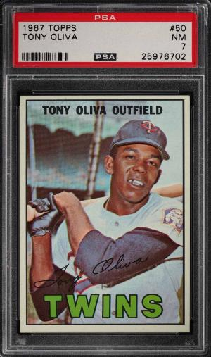 Image of: 1967 Topps Tony Oliva #50 PSA 7 NRMT (PWCC)