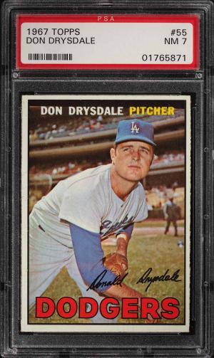 Image of: 1967 Topps Don Drysdale #55 PSA 7 NRMT (PWCC)