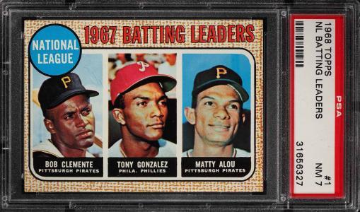 Image of: 1968 Topps Roberto Clemente Tony Gonzalez Matty Alou LDRS #1 PSA 7 NRMT (PWCC)