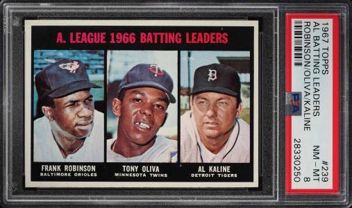 Image of: 1967 Topps Frank Robinson Al Kaline Tony Oliva LDRS #239 PSA 8 NM-MT (PWCC)