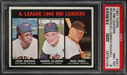 Image of: 1967 Topps Frank Robinson & Harmon Killebrew RBI LDRS #241 PSA 8 NM-MT (PWCC)