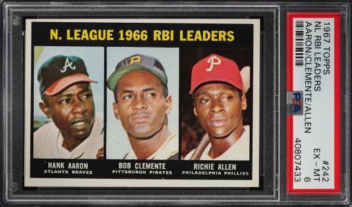 Image of: 1967 Topps Hank Aaron Roberto Clemente Richie Allen LDRS #242 PSA 6 EXMT (PWCC)
