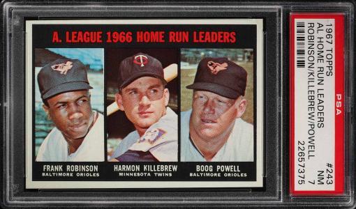 Image of: 1967 Topps Frank Robinson & Harmon Killebrew AL HR LDRS #243 PSA 7 NRMT (PWCC)