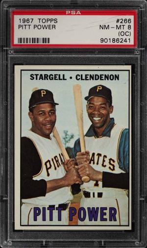 Image of: 1967 Topps Willie Stargell & Don Clendenon PITT POWER #266 PSA 8(oc) NMMT (PWCC)