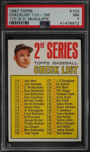 Image of: 1967 Topps Mickey Mantle CHECKLIST 110-196 #103 PSA 7 NRMT (PWCC)