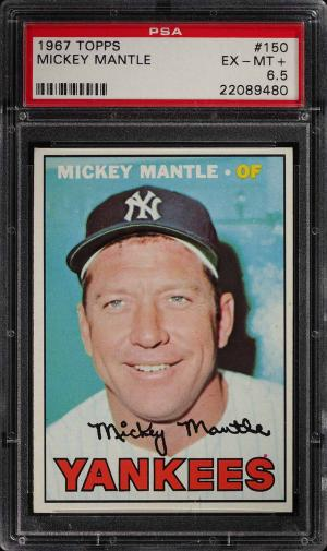 Image of: 1967 Topps Mickey Mantle #150 PSA 6.5 EXMT+ (PWCC)