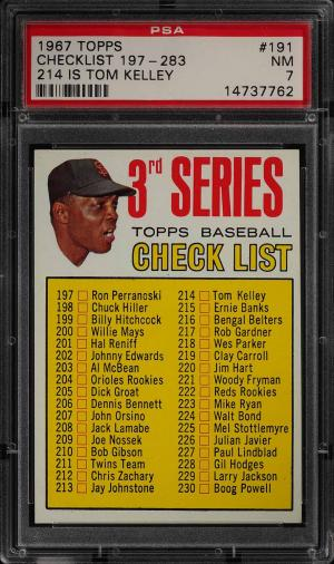 Image of: 1967 Topps Willie Mays CHECKLIST 197-283 #191 PSA 7 NRMT (PWCC)
