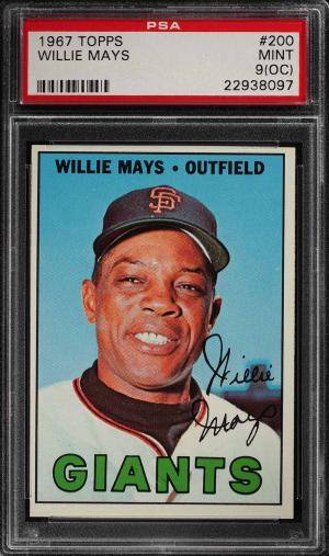 Image of: 1967 Topps Willie Mays #200 PSA 9(oc) MINT (PWCC)