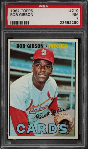 Image of: 1967 Topps Bob Gibson #210 PSA 7 NRMT (PWCC)