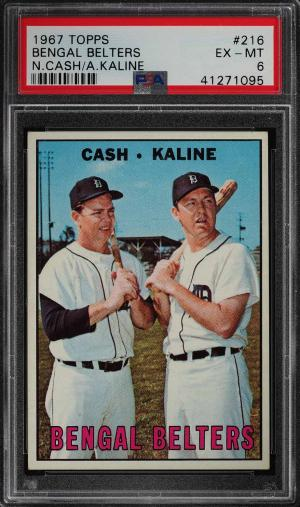 Image of: 1967 Topps Al Kaline & Norm Cash BENGAL BELTERS #216 PSA 6 EXMT (PWCC)