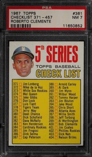Image of: 1967 Topps Roberto Clemente CHECKLIST 371-457 #361 PSA 7 NRMT (PWCC)