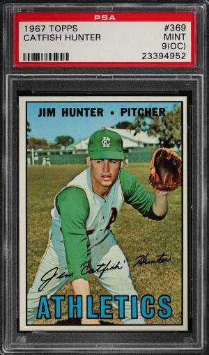Image of: 1967 Topps Catfish Hunter #369 PSA 9(oc) MINT (PWCC)