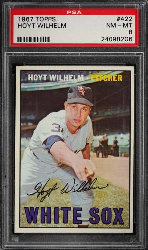 Image of: 1967 Topps Hoyt Wilhelm #422 PSA 8 NM-MT (PWCC)