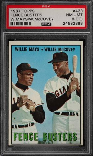 Image of: 1967 Topps Willie Mays & Willie McCovey FENCE BUSTERS #423 PSA 8(oc) NMMT (PWCC)