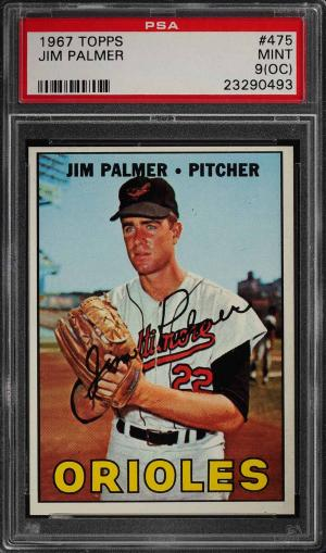 Image of: 1967 Topps Jim Palmer #475 PSA 9(oc) MINT (PWCC)