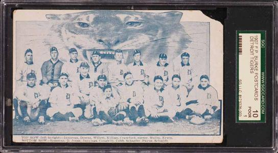 Image of: 1907 F.P. Burke Postcards Detroit Tigers w/ Ty Cobb & Killian SGC 1 PR (PWCC)