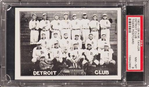 Image of: 1907 H.M. Taylor Detroit Tigers Postcard w/ Ty Cobb ROOKIE RC PSA 8 NM-MT (PWCC)