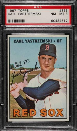 Image of: 1967 Topps Carl Yastrzemski #355 PSA 8 NM-MT (PWCC)