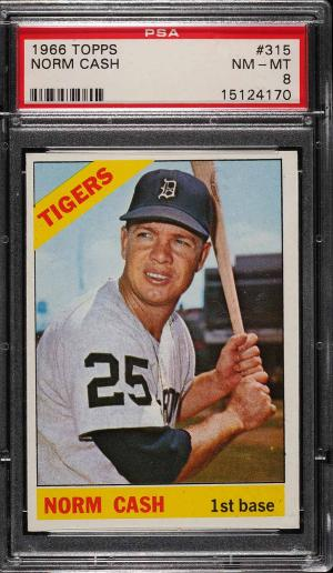 Image of: 1966 Topps Norm Cash #315 PSA 8 NM-MT (PWCC)