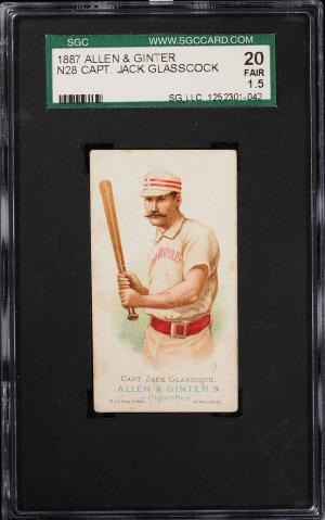 Image of: 1888 N28 Allen & Ginter Captain Jack Glasscock SGC 1.5 FR (PWCC)