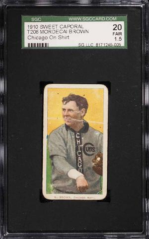 Image of: 1909-11 T206 Mordecai Brown CHICAGO ON SHIRT SGC 1.5 FR (PWCC)