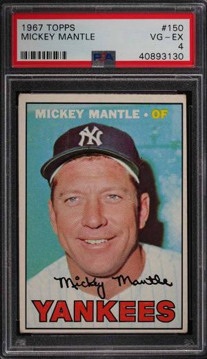 Image of: 1967 Topps Mickey Mantle #150 PSA 4 VGEX (PWCC)