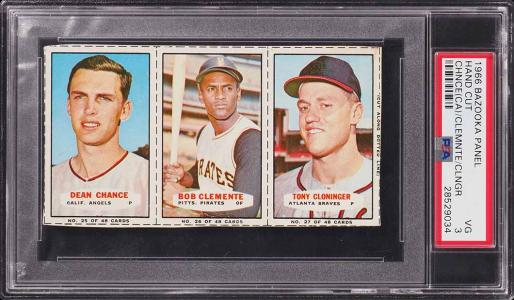 Image of: 1966 Bazooka Panel Roberto Clemente Tony Cloninger Dean Chance PSA 3 VG (PWCC)