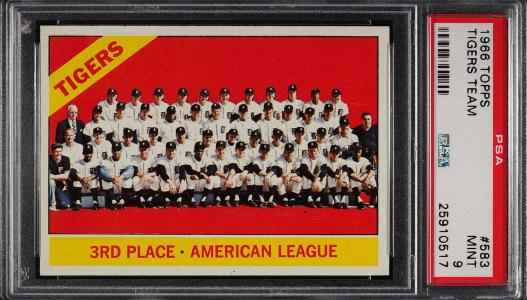 Image of: 1966 Topps Tigers Team SHORT PRINT #583 PSA 9 MINT (PWCC)