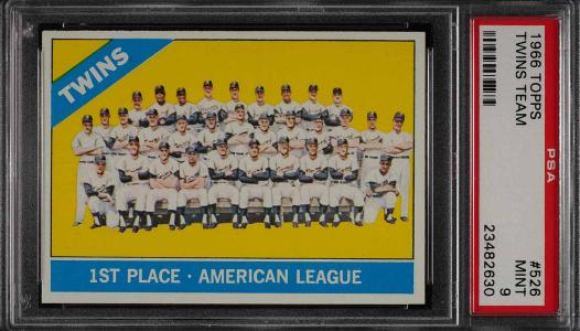 Image of: 1966 Topps Twins Team SHORT PRINT #526 PSA 9 MINT (PWCC)