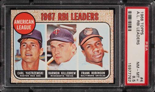 Image of: 1968 Topps Frank Robinson Yastremski Killebrew AL RBI LDRS #4 PSA 8.5 (PWCC)