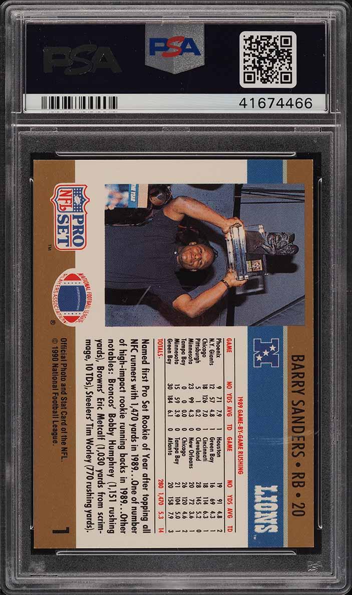 1990 Pro Set Football Rookie Of The Year Barry Sanders 1 Psa 8 Nm