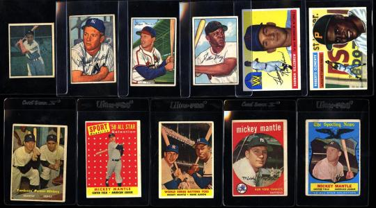 Image of: Lot(11) 1952-59 Topps Super Stars, Mantle Clemente Mays Musial, VG to EX (PWCC)