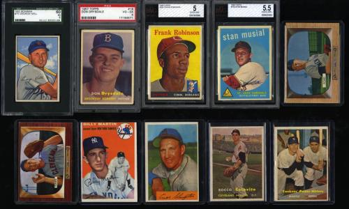 Image of: Lot(33) 1952-63 Topps Super Stars Mantle Mays Banks Maris Clemente, EX+ (PWCC)